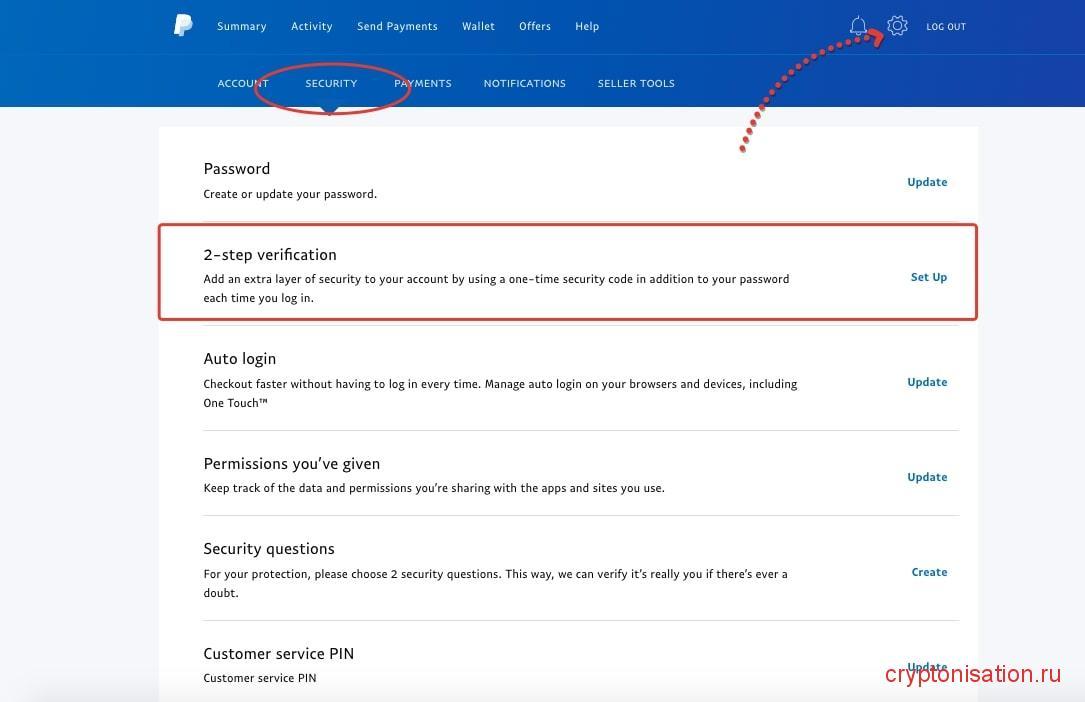 Двухфакторная аутентификация на PayPal